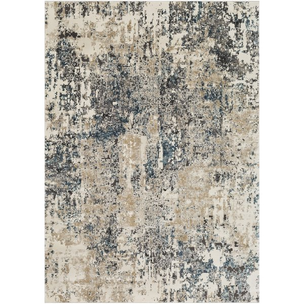 Taupe, Charcoal, Beige Abstract Area Rug