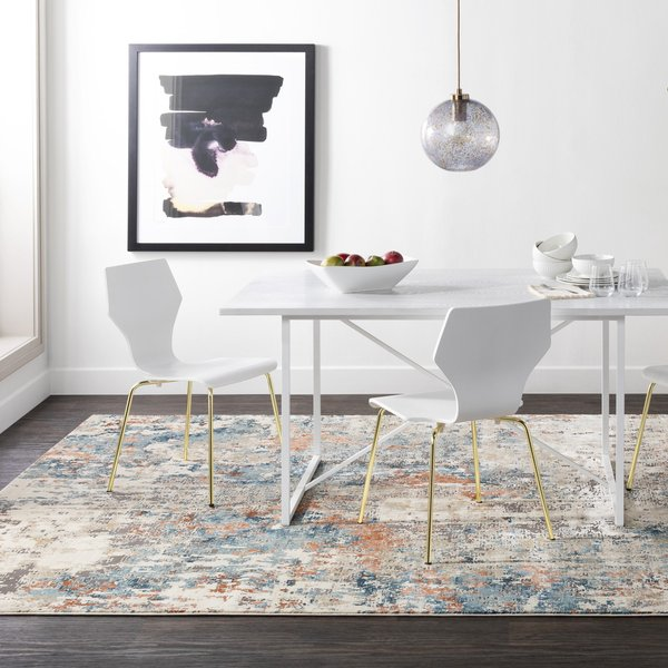 Teal, Aqua, Beige Abstract Area Rug