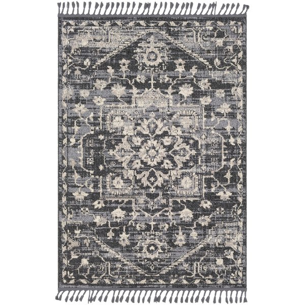Light Gray, Charcoal, Black Traditional / Oriental Area Rug