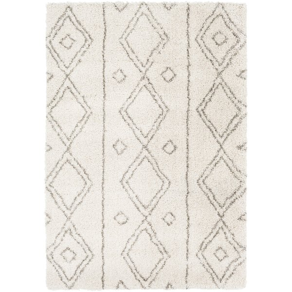 Dark Brown, Khaki, White Shag Area Rug