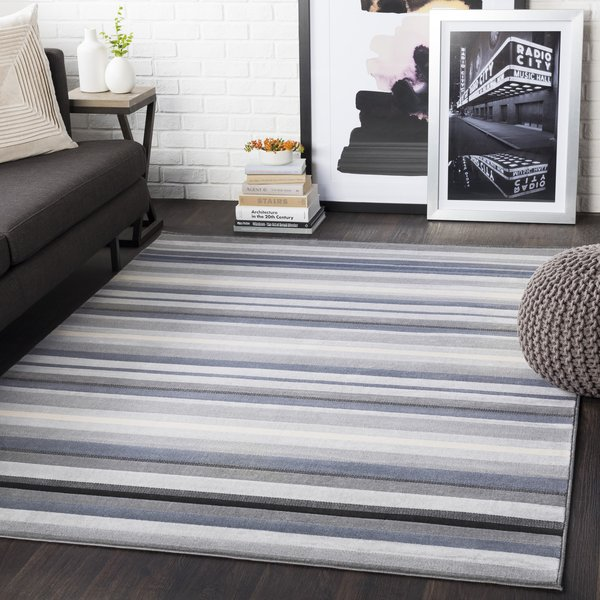 Light Gray, Taupe, Black, Charcoal (CIT-2312) Striped Area Rug