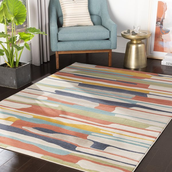 Orange, Yellow, Ivory (CIT-2339) Contemporary / Modern Area Rug