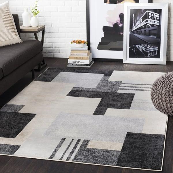 Black, Light Gray, Taupe, Beige (CIT-2341) Contemporary / Modern Area Rug