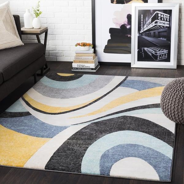Aqua, Mustard, Black, Charcoal (CIT-2345) Contemporary / Modern Area-Rugs