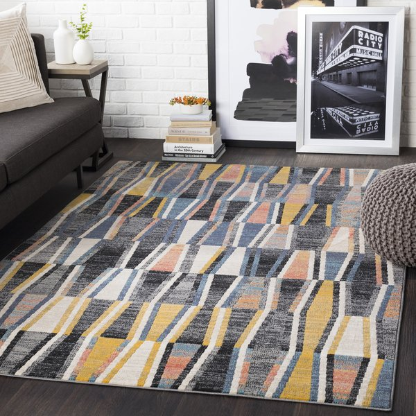 Mustard, Coral, Taupe, Black (CIT-2351) Contemporary / Modern Area Rug