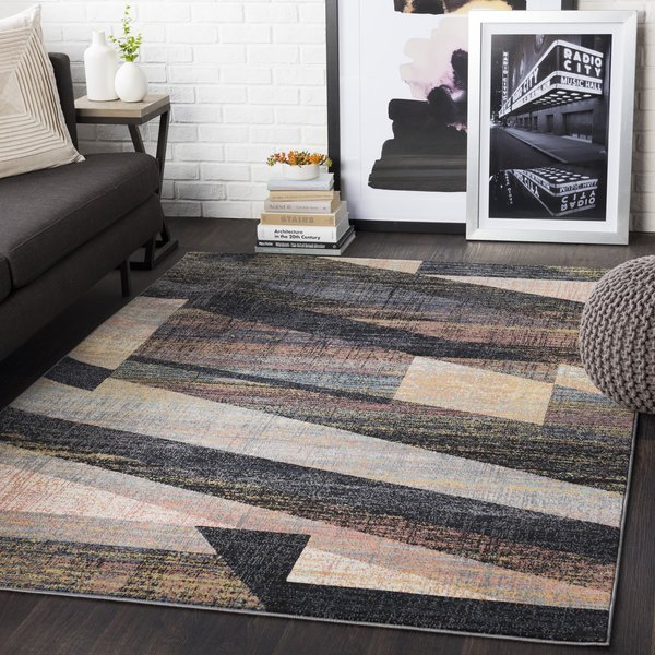 Coral, Beige, Khaki, Black (CIT-2354) Abstract Area Rug