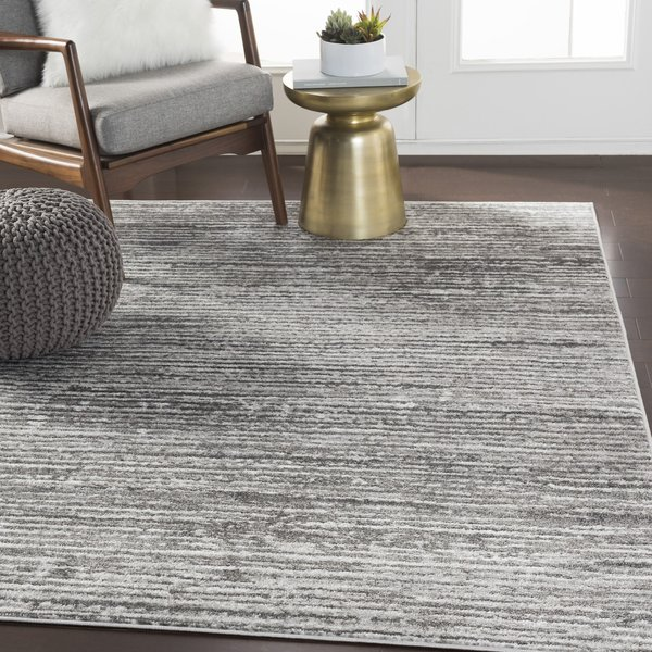 Light Gray, White, Charcoal (MNC-2308) Contemporary / Modern Area Rug