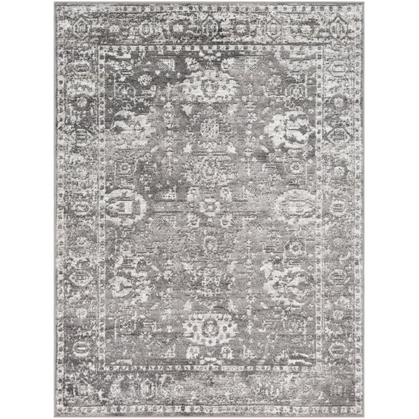 Light Gray, Charcoal, White (MNC-2311) Traditional / Oriental Area Rug
