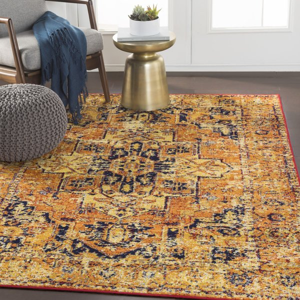 Bright Orange, Bright Yellow (MNC-2316) Traditional / Oriental Area Rug