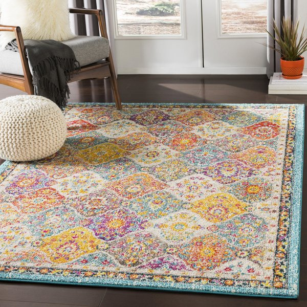 Teal, Pale Blue, Bright Orange (MRC-2313) Traditional / Oriental Area Rug