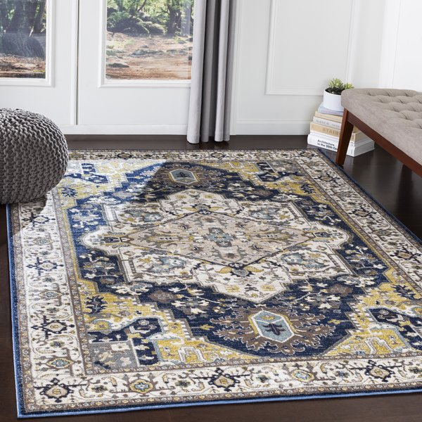 Navy, Charcoal, Butter, Ivory (AHN-2300) Traditional / Oriental Area Rug