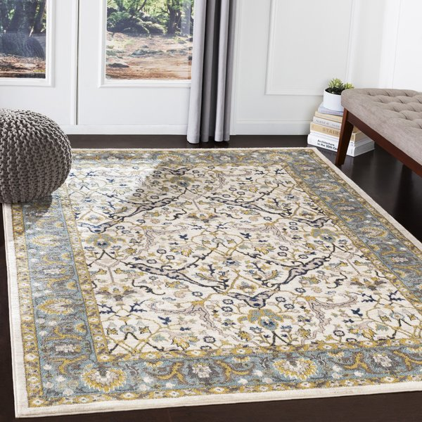 Camel, Navy, Butter, Sky Blue (AHN-2308) Traditional / Oriental Area Rug