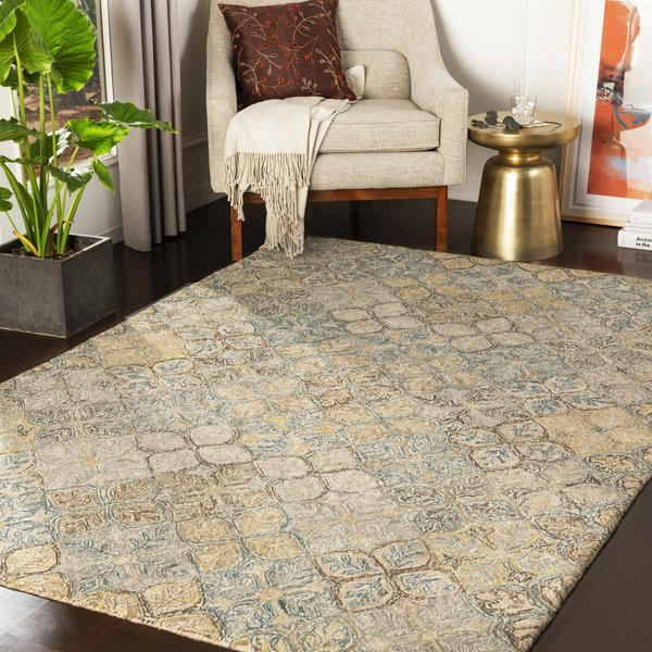 Teal, Taupe, Olive (RBI-1005) Contemporary / Modern Area Rug