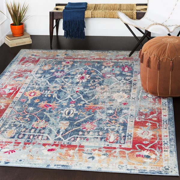 Navy, Charcoal, Bright Red (BOM-2304) Vintage / Overdyed Area Rug