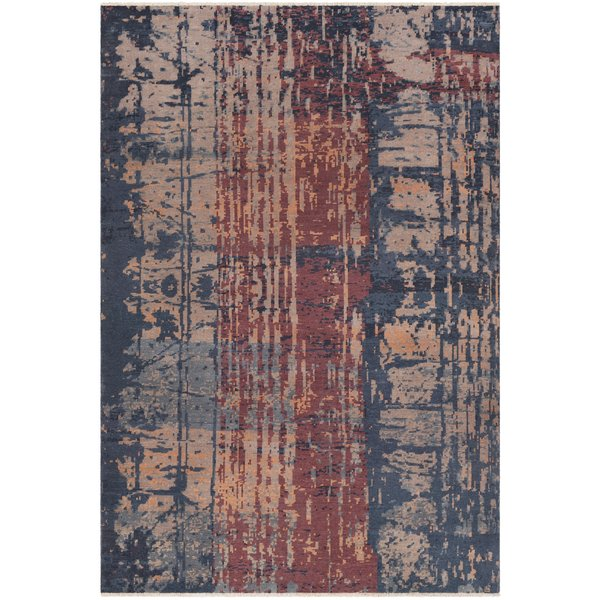 Burgundy, Teal, Taupe Abstract Area Rug