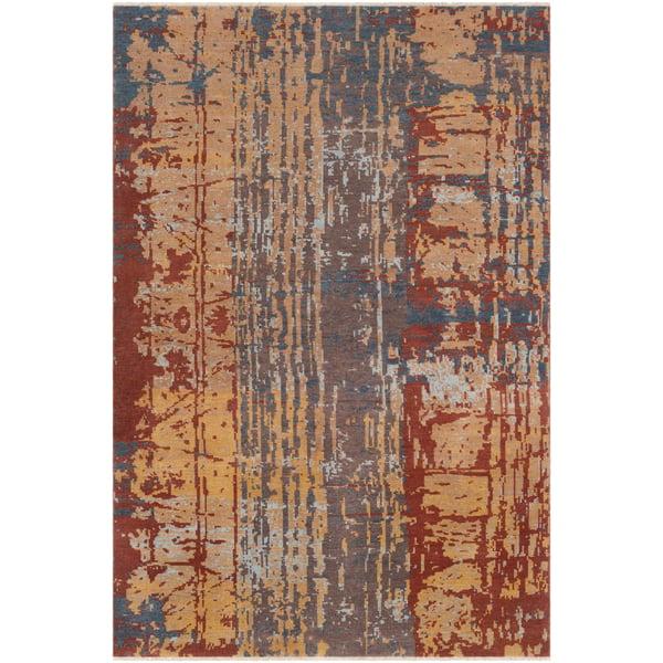 Rust, Camel, Dark Brown Abstract Area Rug