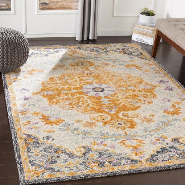 Mustard, Charcoal, Ice Blue Traditional / Oriental Area Rug
