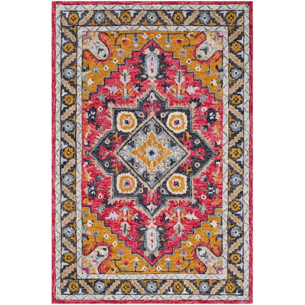 Pink, Burnt Orange, Charcoal Traditional / Oriental Area Rug