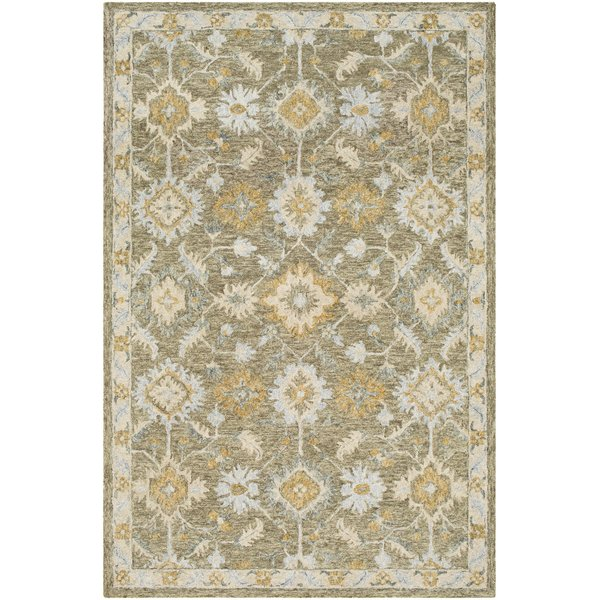 Olive, Wheat, Light Grey  Traditional / Oriental Area Rug