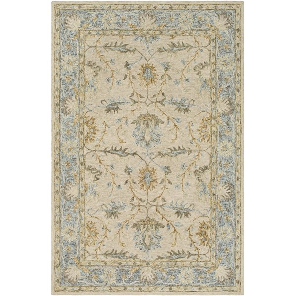 Tan, Olive, Pale Blue Traditional / Oriental Area Rug