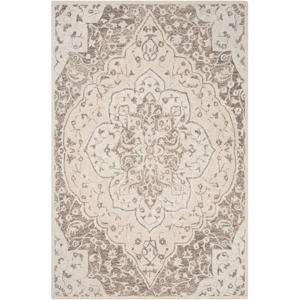 Light Grey, Khaki, Taupe Traditional / Oriental Area Rug