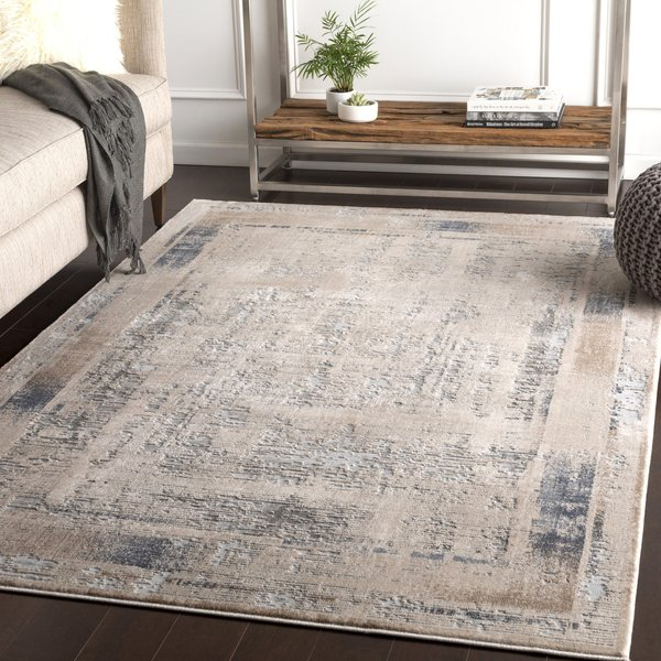 Ivory, Charcoal, Camel Contemporary / Modern Area Rug