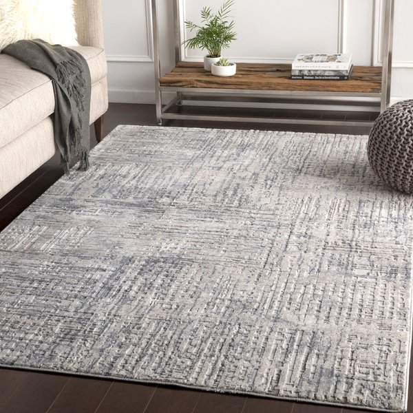 Grey, Charcoal, Ivory Abstract Area-Rugs
