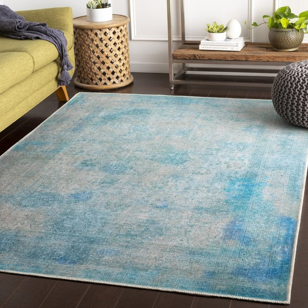 Sky Blue, Light Grey, Aqua Traditional / Oriental Area Rug