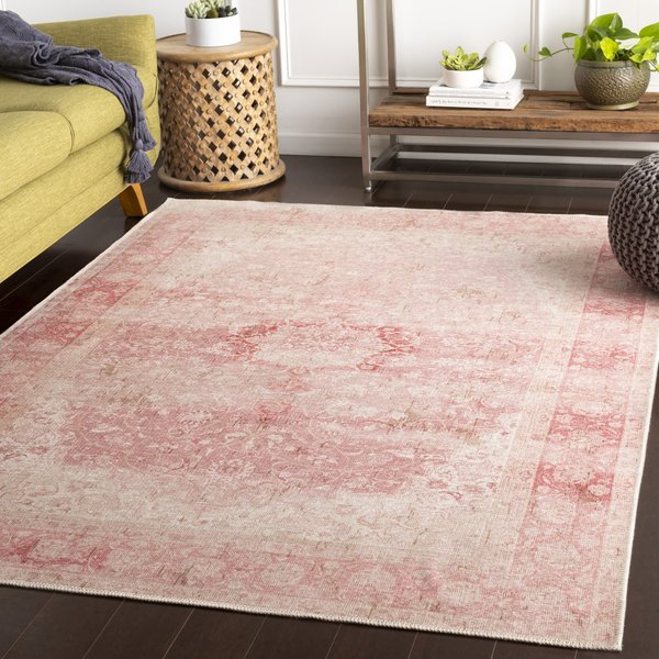 Pink, Ivory Bohemian Area-Rugs
