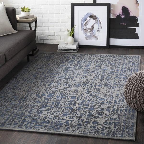 Dark Blue, Charcoal Contemporary / Modern Area Rug