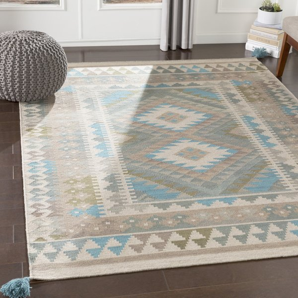 Brown, Blue, Taupe Bohemian Area Rug
