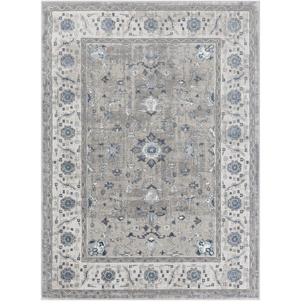 Charcoal, Grey, Navy Traditional / Oriental Area Rug