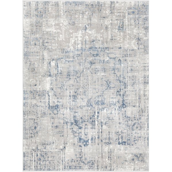 Navy, White, Charcoal Vintage / Overdyed Area Rug