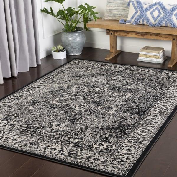 Grey, Black, White Traditional / Oriental Area Rug