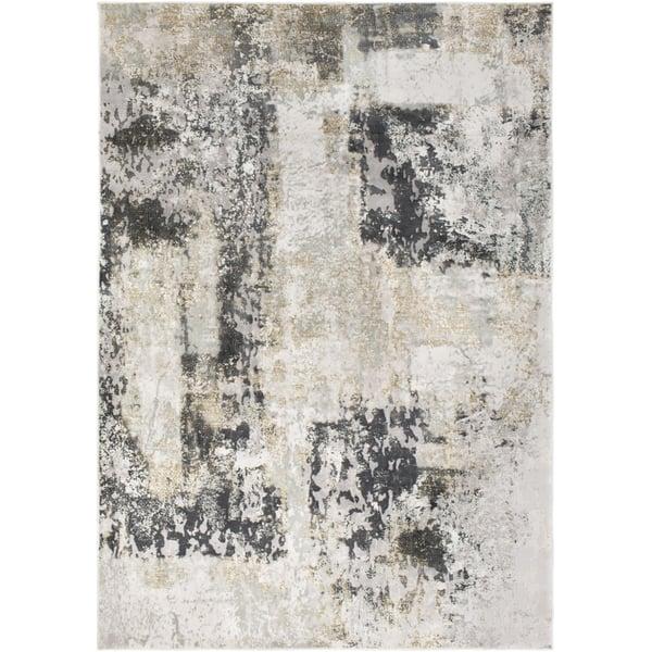 Charcoal, Grey, Tan Abstract Area Rug