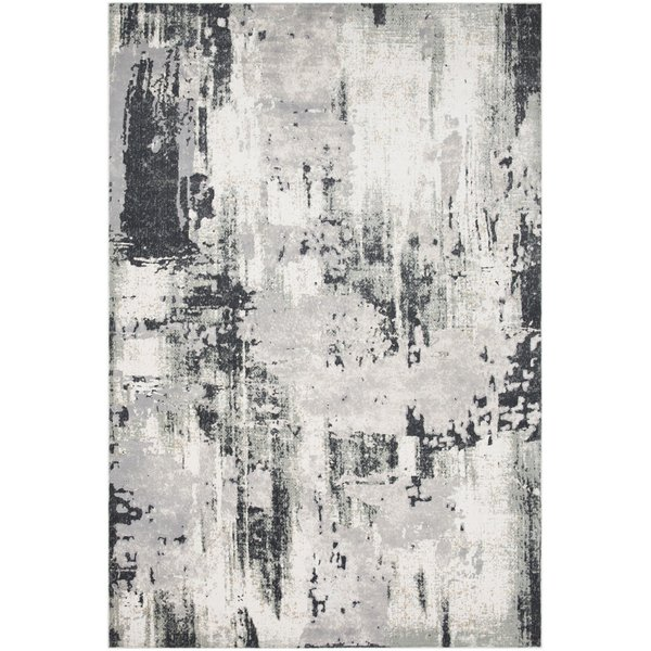 Charcoal, Silver, Beige Abstract Area Rug