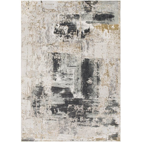 Beige, Charcoal, Silver Abstract Area Rug