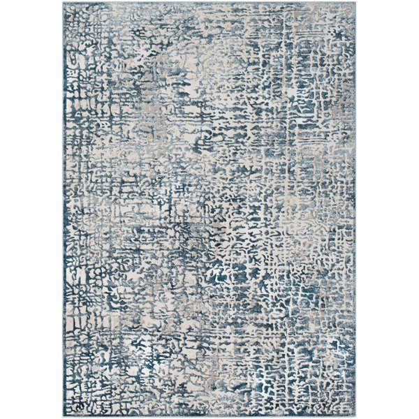 Dark Blue, White, Grey Vintage / Overdyed Area Rug