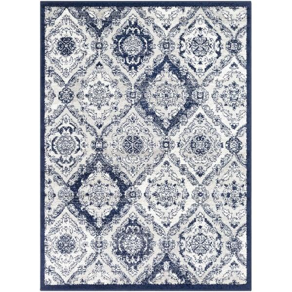 Dark Blue, Grey, White Contemporary / Modern Area Rug