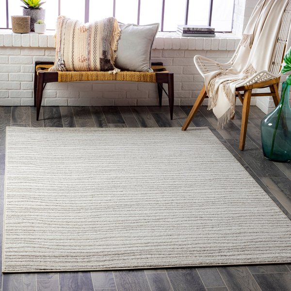 White, Medium Grey Striped Area Rug