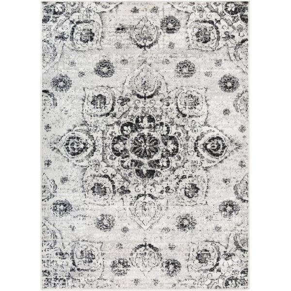 White, Black, Grey Vintage / Overdyed Area Rug