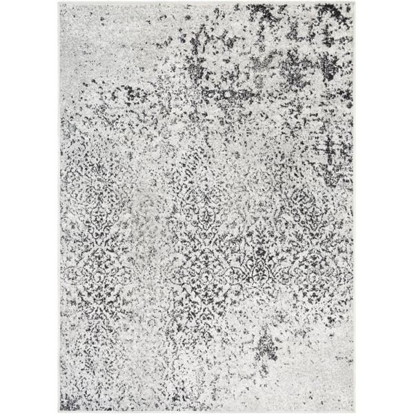 White, Medium Grey, Black Vintage / Overdyed Area Rug