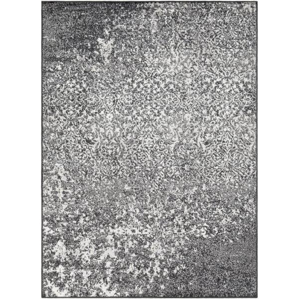 Black, Medium Grey, White Vintage / Overdyed Area Rug