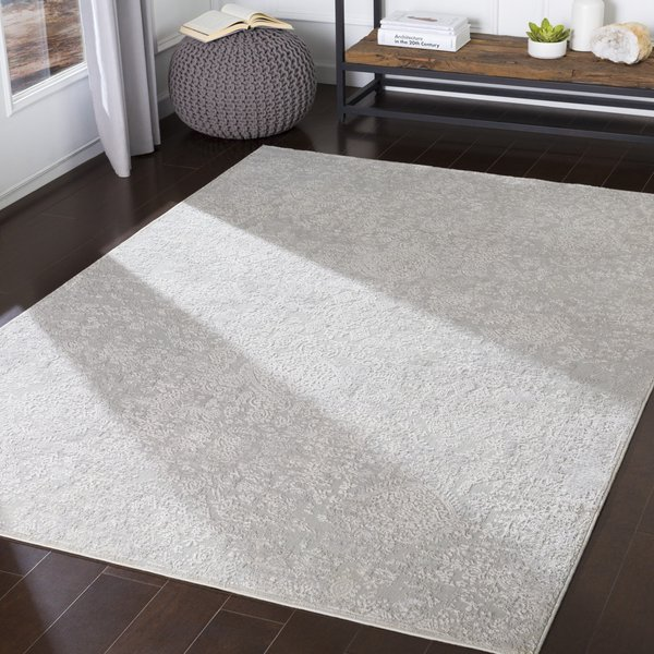Light Grey, White Traditional / Oriental Area Rug