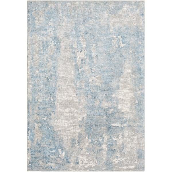 Sky Blue, Medium Grey, White Abstract Area Rug