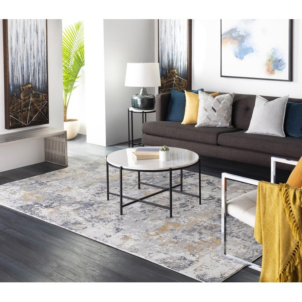 Charcoal, Grey, Mustard Abstract Area-Rugs