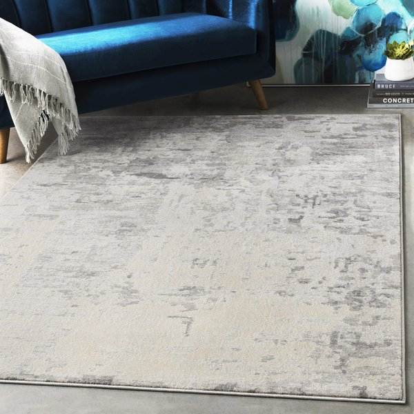 Charcoal, Grey, Ivory Abstract Area Rug