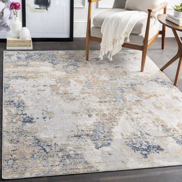 Blue, Tan, Ivory Abstract Area Rug