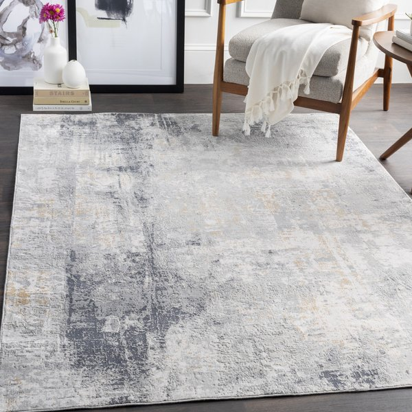 Grey, Charcoal, Tan Abstract Area Rug