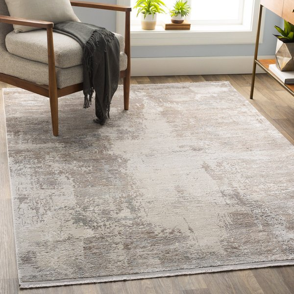 Taupe, Grey, White Abstract Area Rug